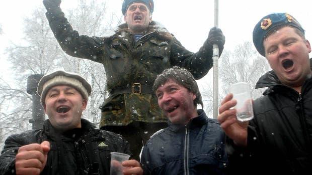 Russian men enjoying alcohol