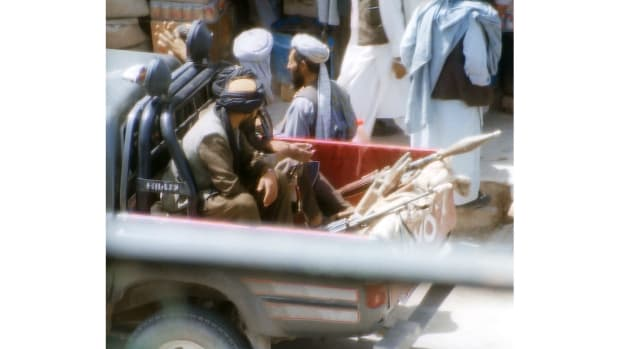 Taliban fighters in Herat, Afghanistan.
