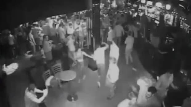 CCTV footage, Maxwell Banbury punching Andrew Mason in dance club