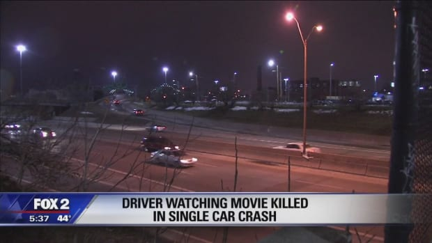 street where man crashed after reportedly watching porn while driving