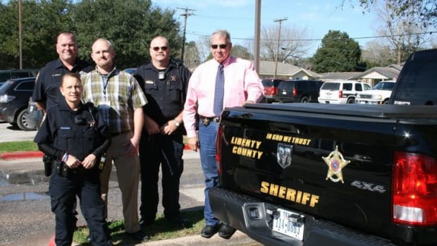 """An """"In God We Trust"""" decal added to a Liberty County patrol vehicle"""