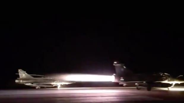 French Aircraft Launching To Bomb Raqqa.