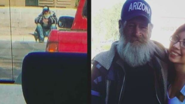 morissa pena and a homeless man
