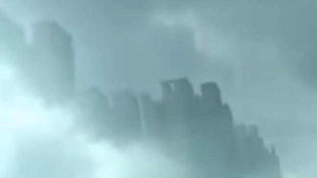 Floating city above China