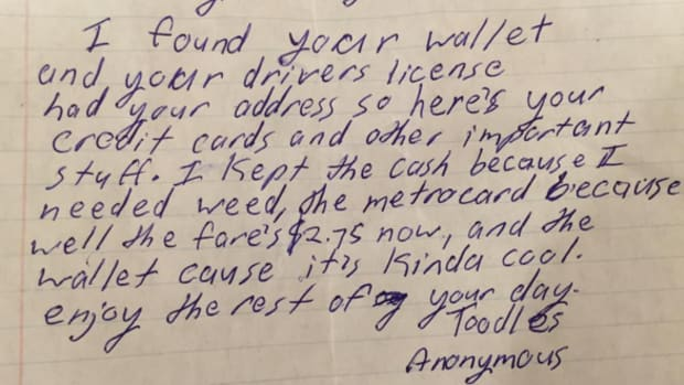 note left by stranger who returned some of man's wallet