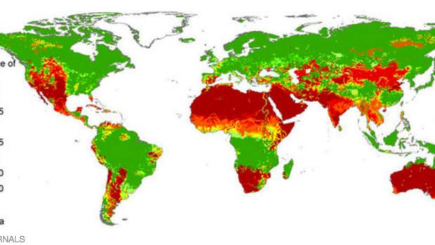Water shortage severity around the world