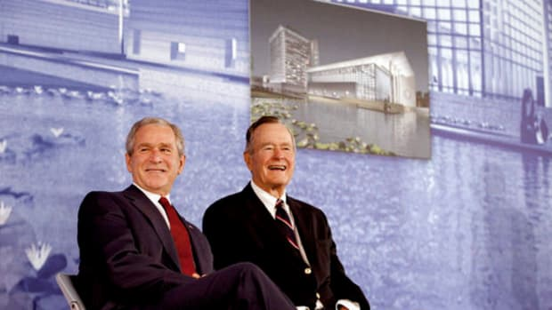 Former presidents George H.W. Bush and George W. Bush