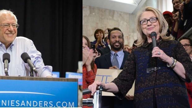 Democratic Candidates Bernie Sanders and Hillary Clinton