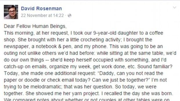 David Rosenman's Facebook Post.