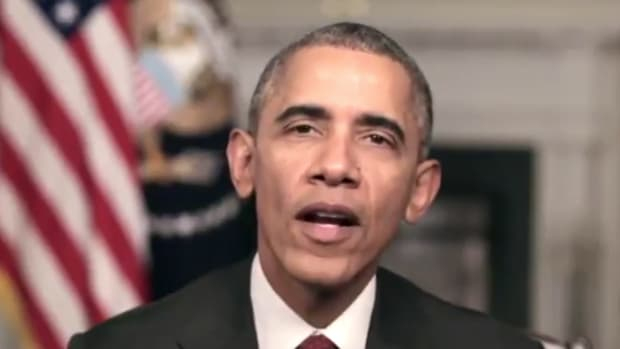 President Barack Obama giving weekly address on Thanksgiving Day