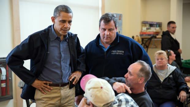 President Barack Obama and Gov. Chris Christie.