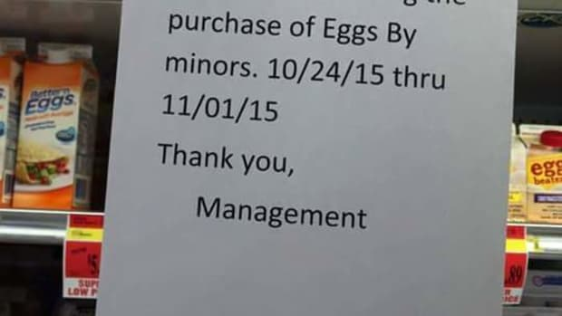 No Eggs For Minors Sign.