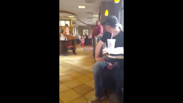 Screenshot, Chick-Fil-A employee singing 'God Bless The USA'