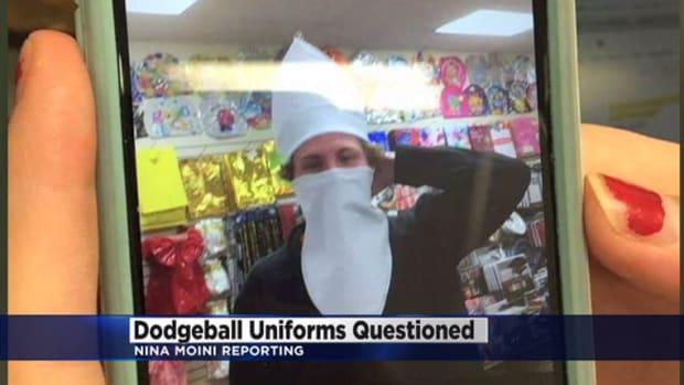 High school student wears dodgeball costume
