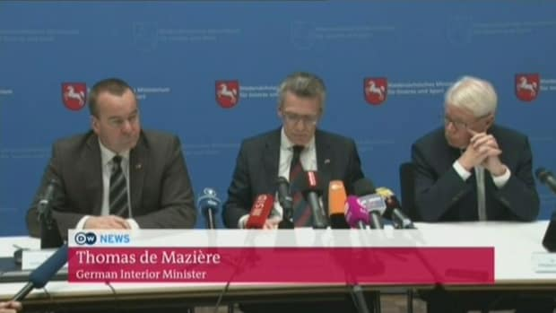 Thomas de Maiziere, Germany's federal interior minister, speaking at press conference