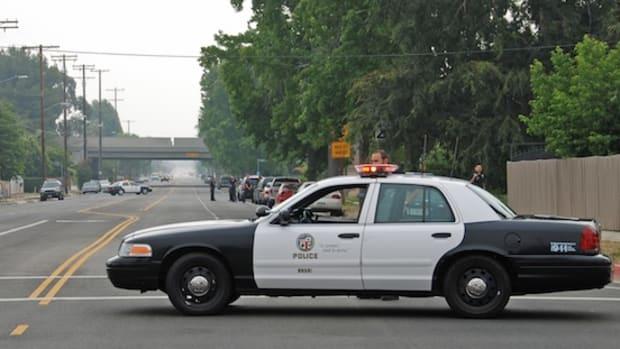 An LAPD cruiser