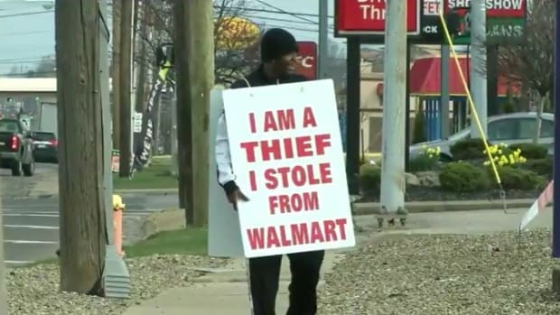 Wal-Mart Thief Ordered To Wear Humiliating Sign Promo Image