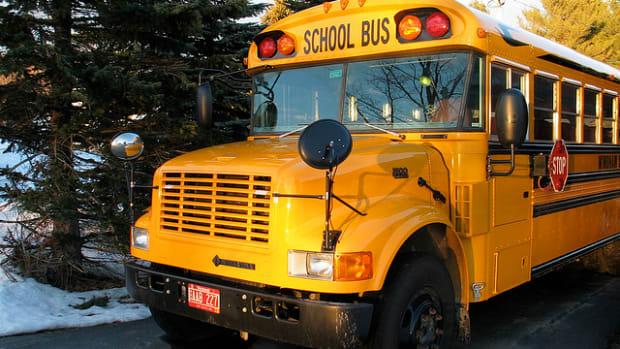 School bus line up