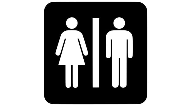 Signage featuring male and female symbols.
