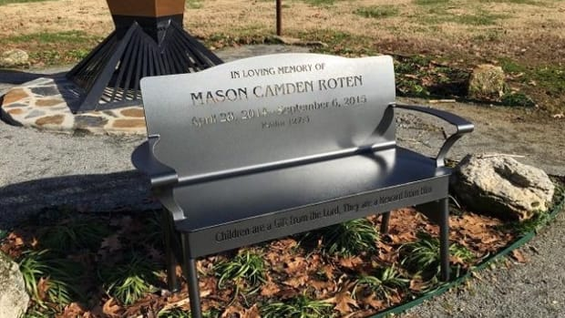 memorial bench for Mason Roten in north carolina