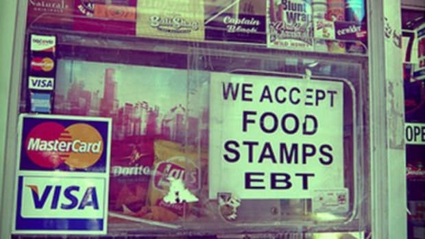 Storefront with Food Stamps sign