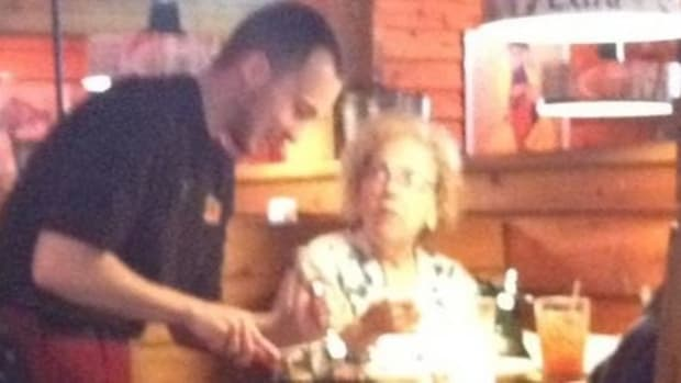 Photo Of Waiter Helping Elderly Woman Goes Viral Promo Image