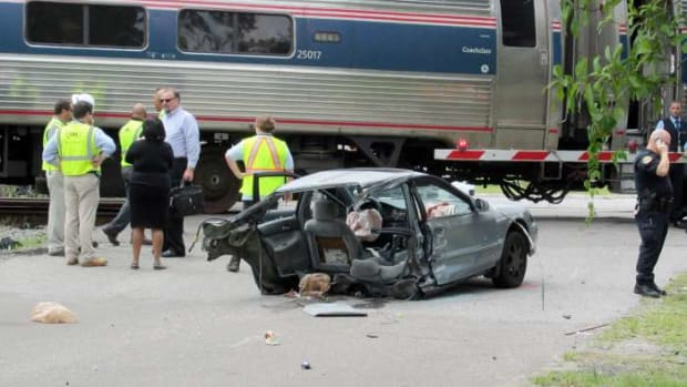 Stacey Peterson's Car after Amtrak Train cut it in half