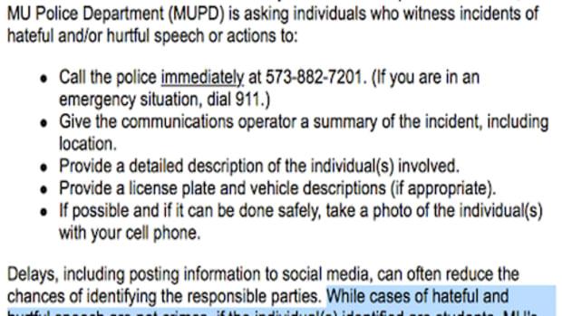 Missouri University Police Department Warning