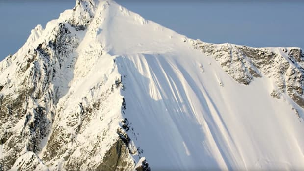 a skier falling down a 1,600 foot mountain