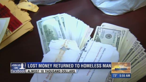 cash forgotten by a homeless man