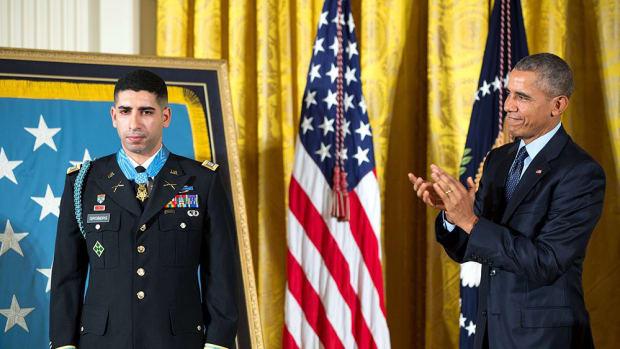Capt. Florent A. Groberg and President Barack Obama Obama