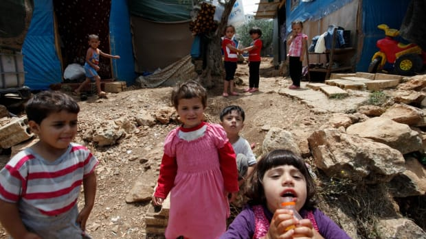 Syrian children at a refugee camp in Lebanon.
