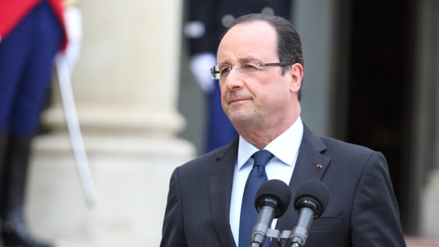 French Prime Minister Francois Hollande Following Attacks In Paris