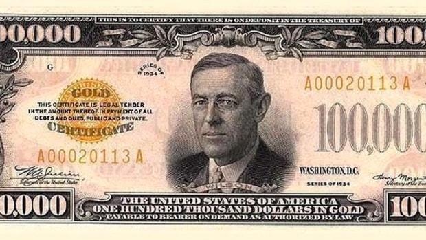 A $100,000 bill.