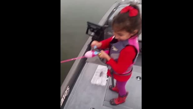 Watch This Little Girl Catch A Giant Fish With Barbie Fishing Pole (Video) Promo Image