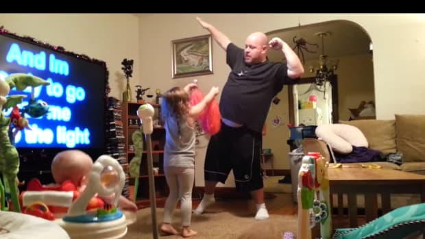 Screenshot, dad's dance-off with kids