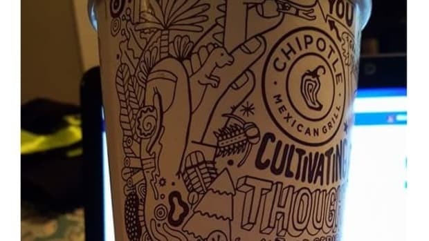 chipotle cup with shocking phrase written on it