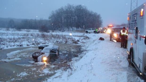 Truck Sinking Into Water in Wisconsin