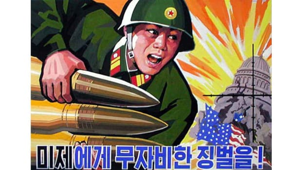 A North Korean Propaganda Poster.