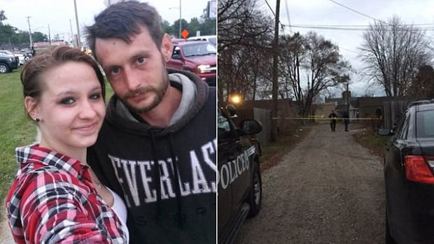 Left: Rebecca Hardy and fiance, Right: scene of mauling