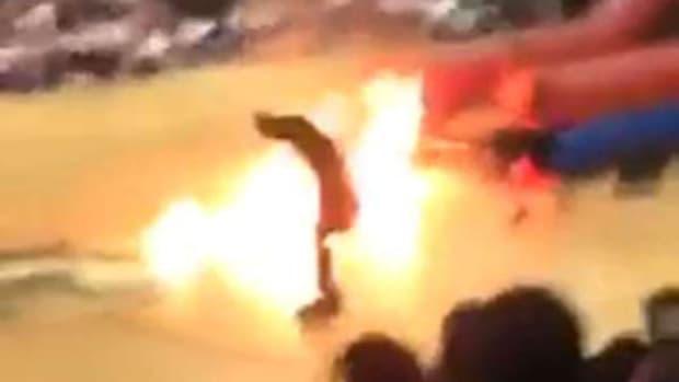 Stunt Man Suffers Burns At High School Pep Rally (Video) Promo Image