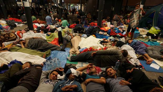 Syrian Refugees At Keleti Railway Station, Budapest, Hungary.