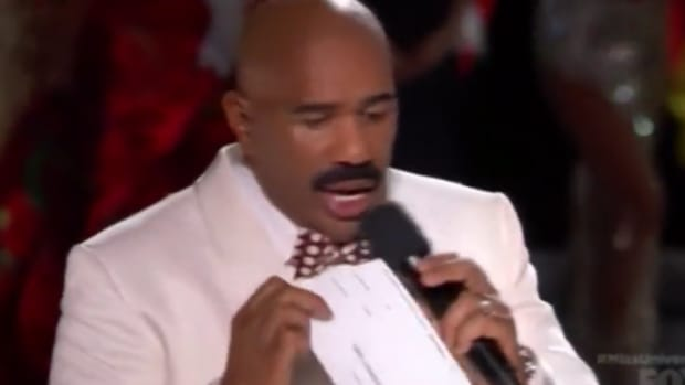 steve harvey after announcing the wrong miss universe winner