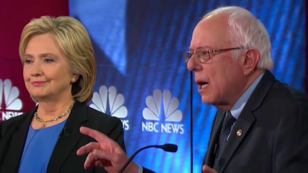 Bernie Sanders and Hillary Clinton at the Democratic Debate