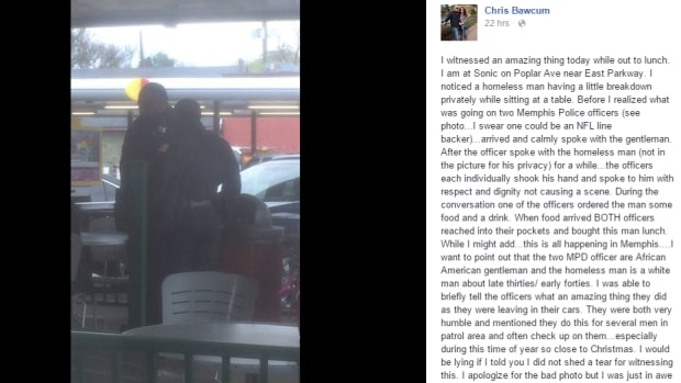 police officers talking to homeless man at Sonic restaurant