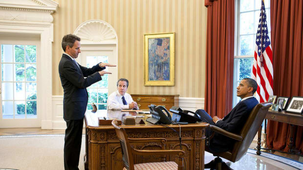 President Barack Obama with former Treasury Secretary Timothy Geithner