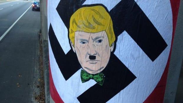 Graffiti depicting Donald Trump as Adolf Hitler