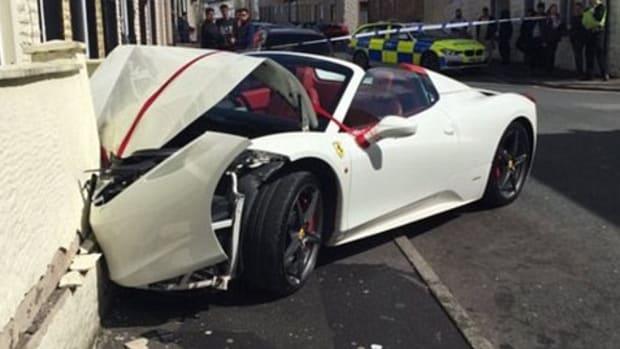 Couple Crashes Rented Ferrari On Wedding Day (Photos) Promo Image