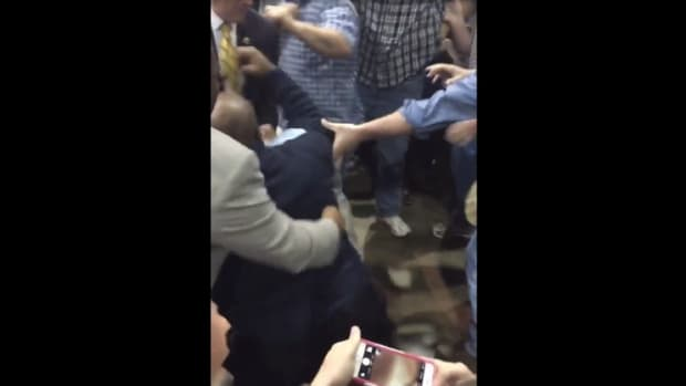 black lives matter protester being beaten at donald trump rally