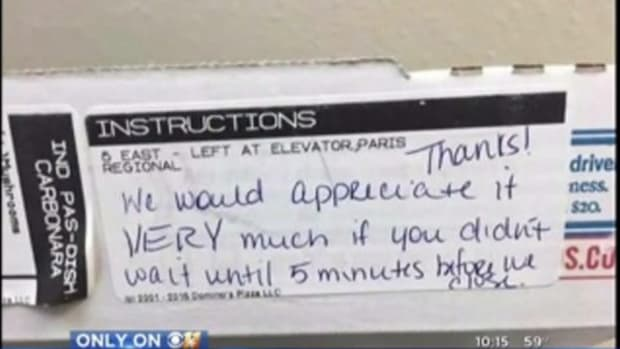 Nurse Working Late Shift At Hospital Discovers Unbelievable Note Attached To Domino's Pizza (Photo) Promo Image
